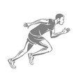 silhouette of isolated running male on white vector image vector image