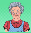 pop art happy senior woman smiling vector image