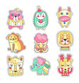 cute colorful cloth patches set embroidery or vector image