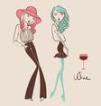 fashion girls hand drawn vector image vector image