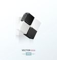 3D Cube twist black and white vector image