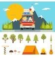 Family Trip Road Car Concept Flat Design Icon vector image