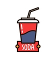 Takeaway fast food cup of sweet soda linear badge vector image vector image