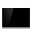 Black TV hanging on white wall vector image