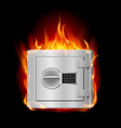 burning steel safe on black background vector image