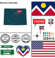 Denver Colorado set vector image