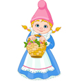 Garden Gnome with basket vector image
