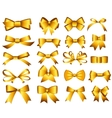 Gold Ribbon and Bow Set for Your Design vector image