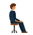 man sitting at office chair cartoon flat vector image