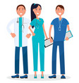 three physicians standing and smiling graphic vector image