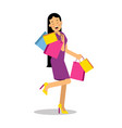 young happy smiling brunette woman in purple dress vector image