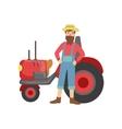 Bearded Farmer With Trucktor vector image
