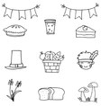 Hand draw thanksgiving set doodles vector image