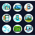 Augmented Reality Round Icons Set vector image
