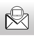 drawn tablet email envelope icon vector image