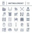 knitting crochet hand made line icons set vector image
