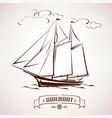 sailboat vintage wooden ship sketch vector image