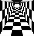 abstract background chess corridor tunnel vector image vector image