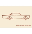 American muscle car silhouette 60s vector image