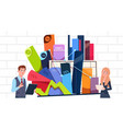 businessman and businesswoman holding presentation vector image
