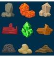 cartoon mineral stones set vector image