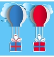 Hot air balloons with gifts vector image