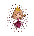 princess fairy with crown and magic wand in vector image