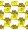 Smiling takeaway French fries seamless vector image
