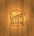 Two Wooden Mugs with Beer on wooden background vector image