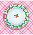 White plate decoration with strawberries leaves vector image
