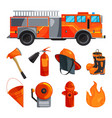 protective clothing of fireman boots helmet axe vector image