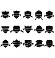 black shield and ribbon icons set vector image vector image