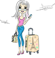 girl with suitcases travels the worl vector image