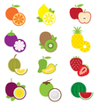 Fruits and piece of fruits icons vector image