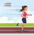 colorful poster keep running with female athlete vector image