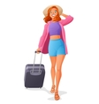 Cute young woman going on vacation with luggage vector image