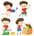 happy boy in four actions vector image