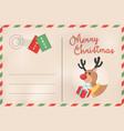 merry christmas retro deer holiday postcard vector image