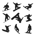 snowboarder jump in different pose silhouette vector image