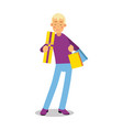 young smiling blonde man in purple pullover vector image