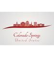 Colorado Springs V2 skyline in red vector image vector image