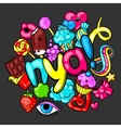Kawaii print with sweets and candies Crazy sweet vector image
