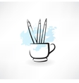 pencils grunge icon vector image vector image