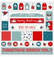 red white blue christmas printable papers bundle vector image vector image