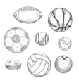 Sketches of sporting balls and ice hockey puck vector image