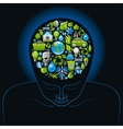 Human head with green and blue concept ecological vector image