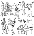 Set Of Isolated Sketch Jazz Musicians vector image