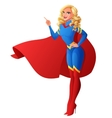 Beautiful sexy superhero woman with finger vector image
