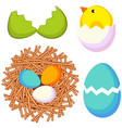 cartoon easter icon set chicken nest egg shell vector image