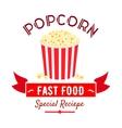 Cinema fast food snacks icon with popcorn bucket vector image